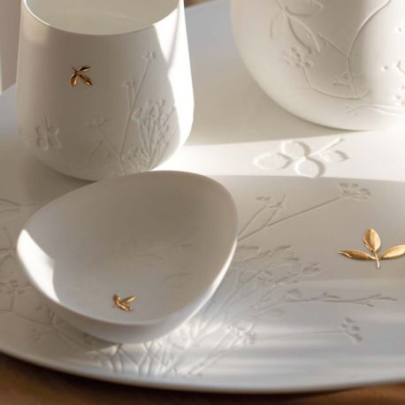 Petit Bol en porcelaine feuille dorée Räder