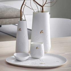 White Porcelain Dish Leaves Räder