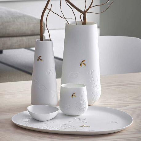 Plat en Porcelaine au refliefs feuilles