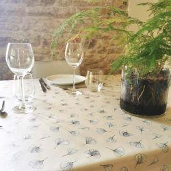 Ginkgo Sable Coated tablecloth Fleur du Soleil
