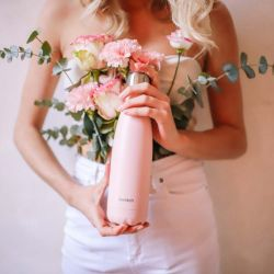 Bouteille isotherme unie rose pastel Qwetch