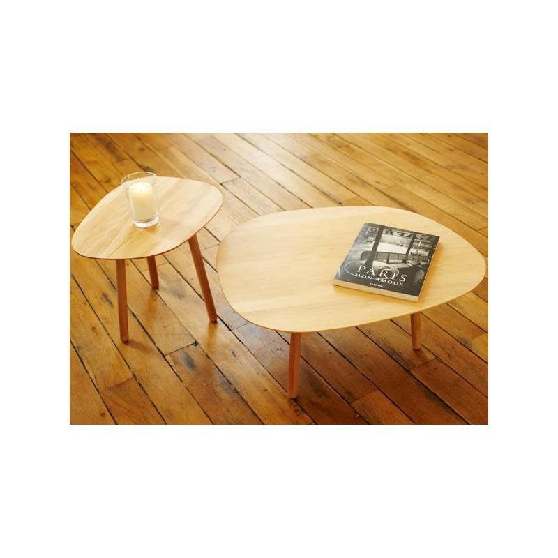 Table Basse Gigogne Bois.Table Basse 3 Pieds En Bois Massif Par Reine Mere