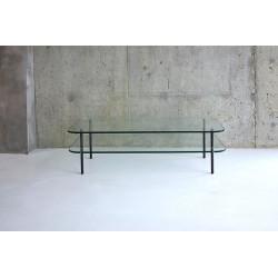 Table basse en verre double plateau