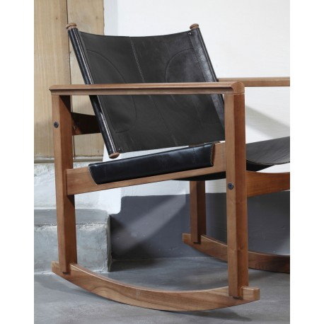Rocking chair cuir Peglev Objekto - Structure en noyer massif