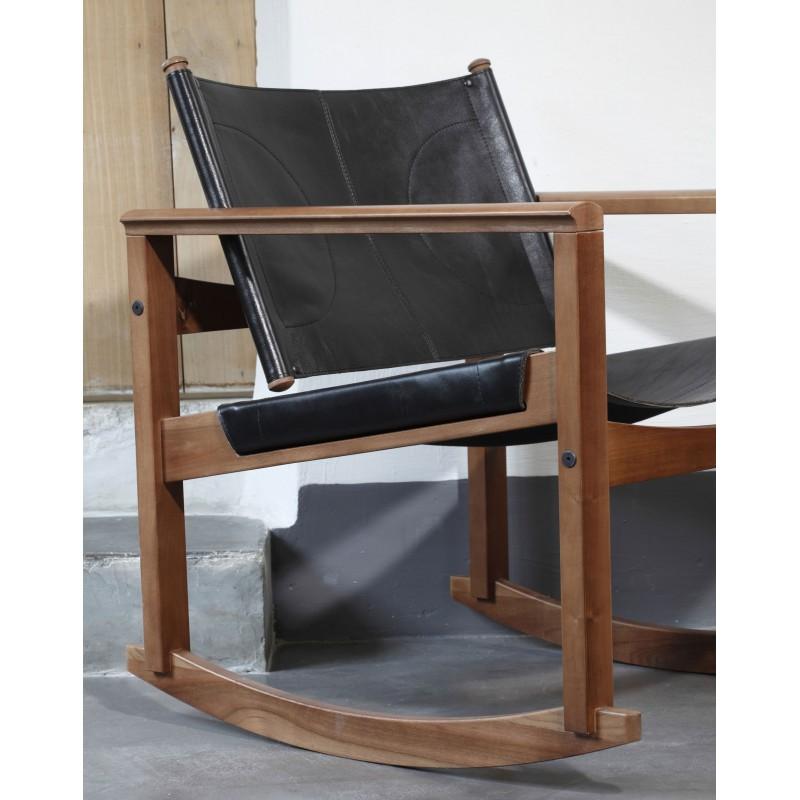 Rocking Chair Peglev En Cuir Et Bois Massif Par Objekto
