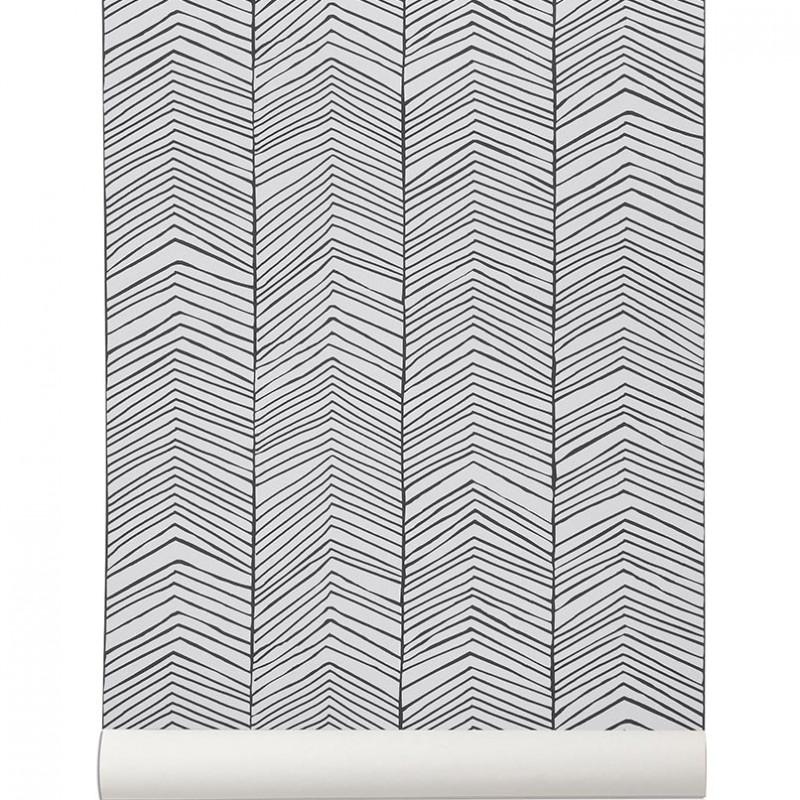 papier peint herringbone de ferm living papier peint noir et blanc. Black Bedroom Furniture Sets. Home Design Ideas
