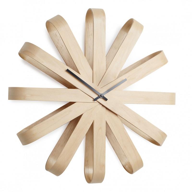 Horloge Murale Bois Horloge Design Ribbon Par Umbra