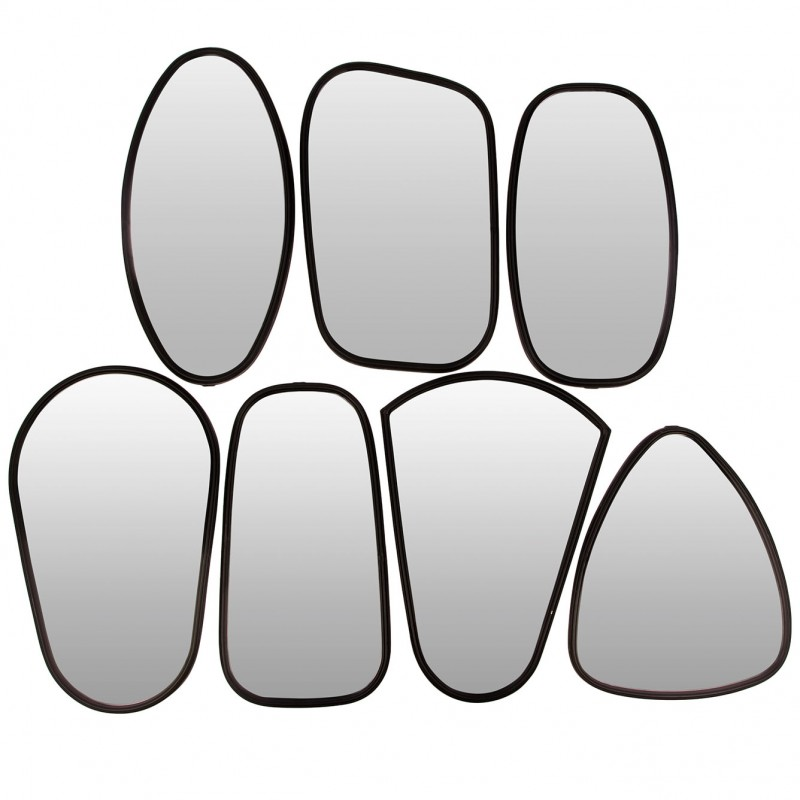 Set of 7 mirrors metal design frames black by Broste copenhagen