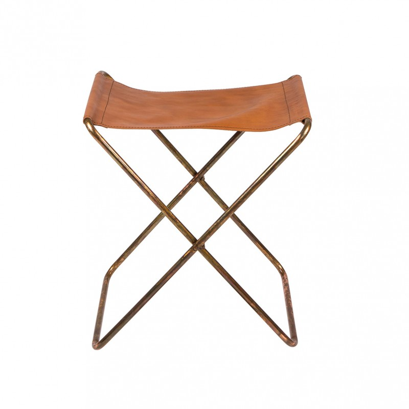 Leather And Iron Copper Finish Folding Stool Nola By
