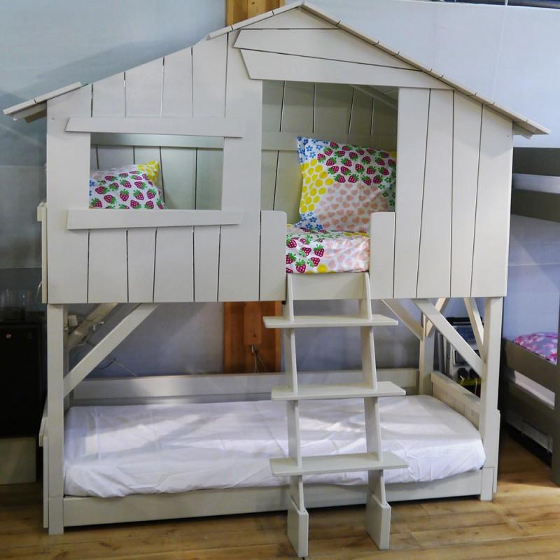 Chambre Orange Et Gris : Lit cabane simple ou superposé en bois pour chambre d