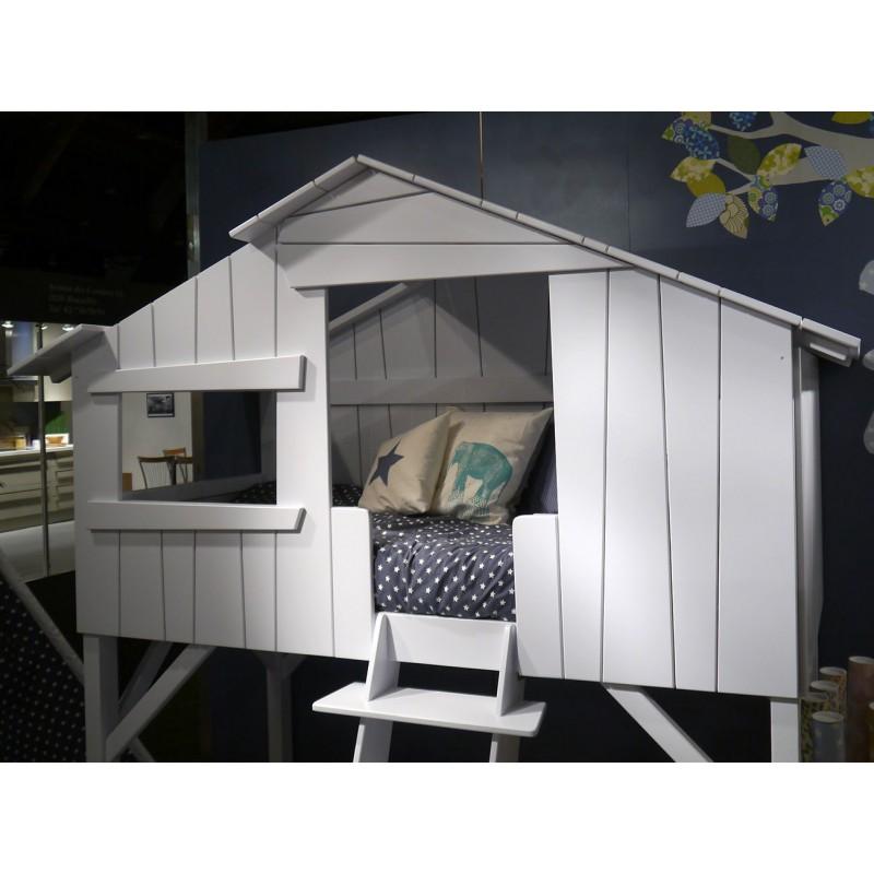 Chambre Blanc Gris Et Rouge : Lit cabane simple ou superposé en bois pour chambre d