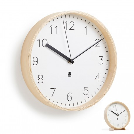 Rimwood clock in natural wood by Umbra