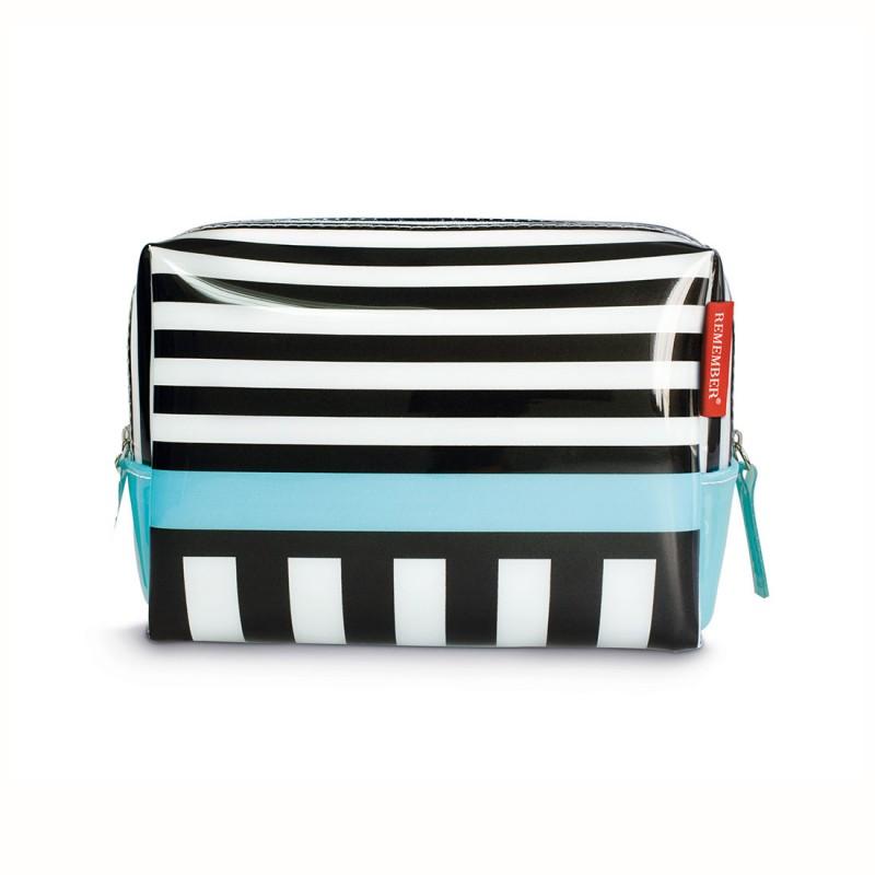 trousse de toilette black stripes trousse en pvc avec pochettes par remember. Black Bedroom Furniture Sets. Home Design Ideas