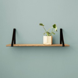 Metal and oak wall shelf