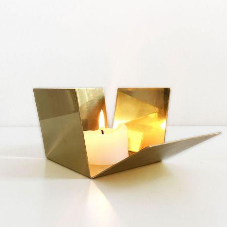 Photophore doré effet miroir
