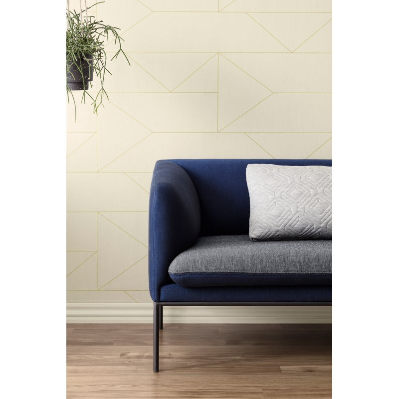 Non Woven Off White And Gold Walllpaper Lines Collection
