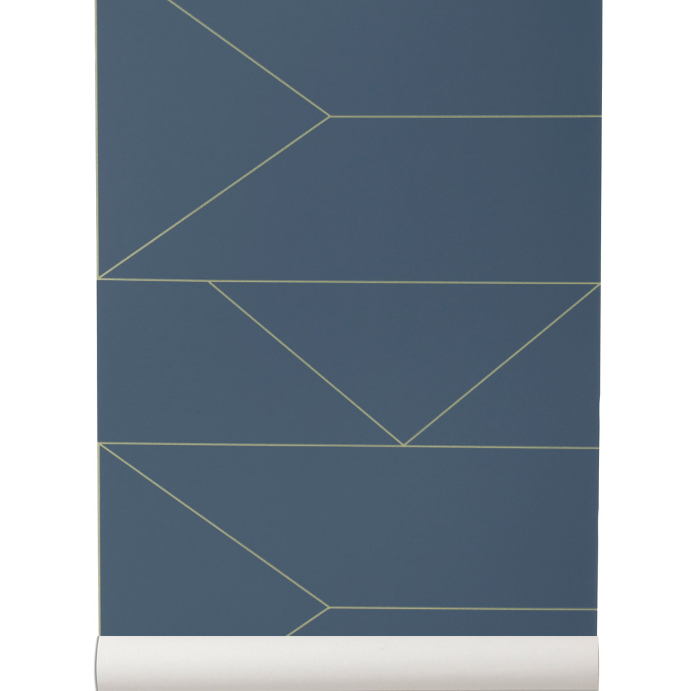 Papier Peint Ferm Living Lines Papier Peint Bleu Fonce Et Dore