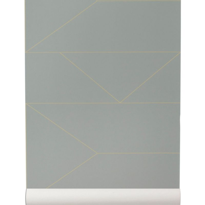 Non Woven Gray And Gold Walllpaper Lines Collection By