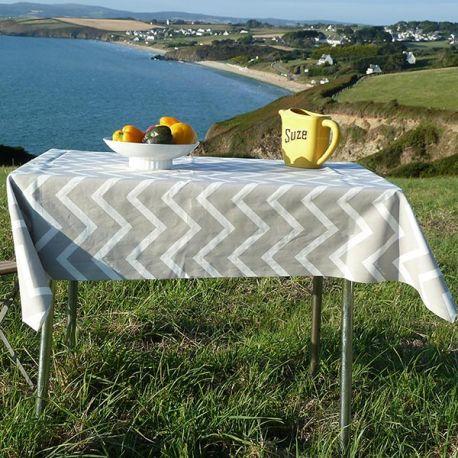 Tablecloth beige herringbone