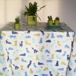 Blue Cats tablecloth