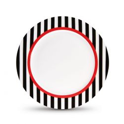 Black Stripes dessert plate Remember