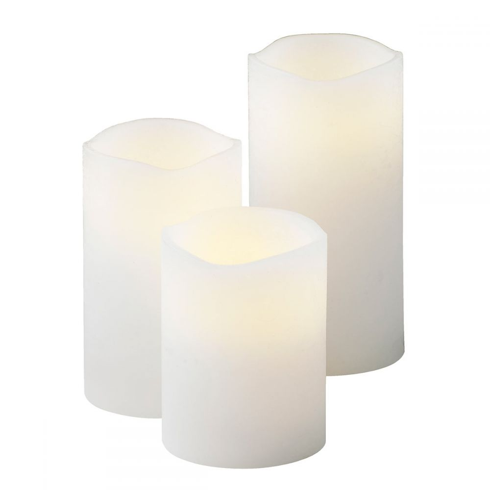 Set Of 3 Original White Battery Candles