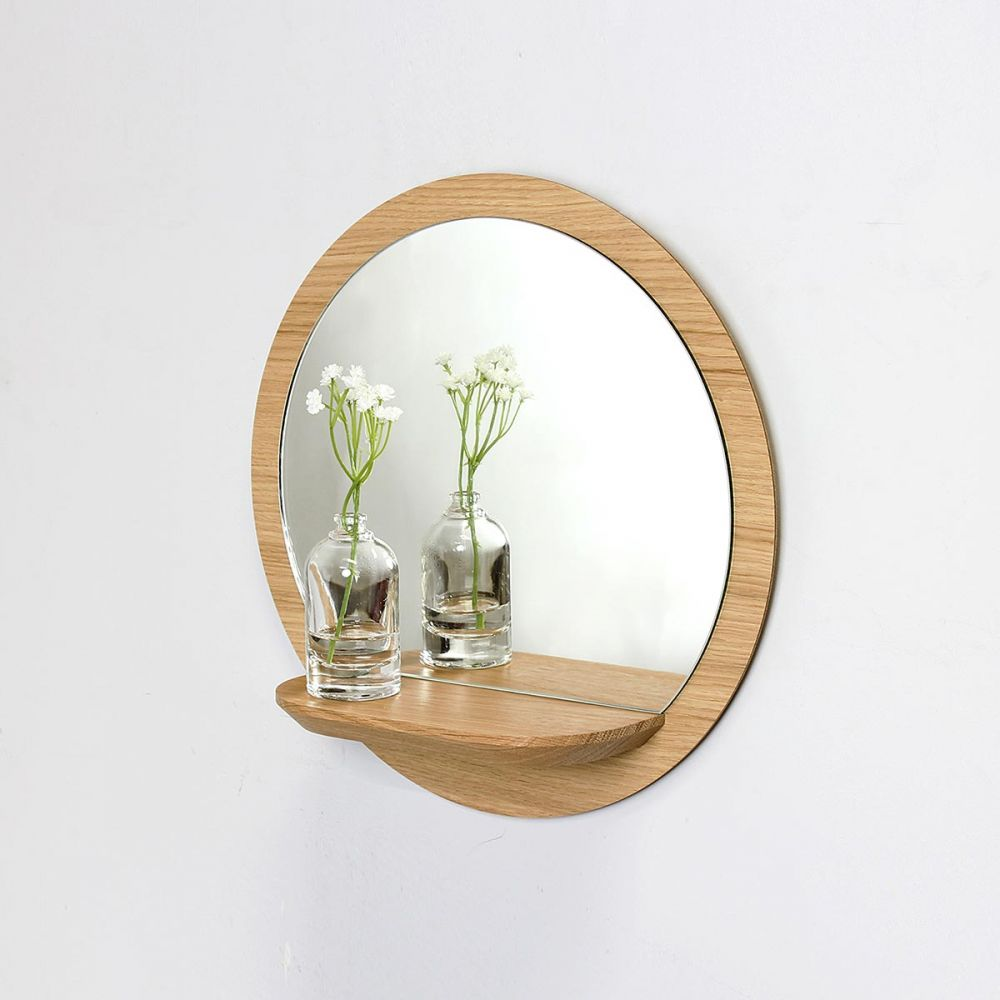 Round Wood Mirror With Shelf Sunrise By Reine Mere
