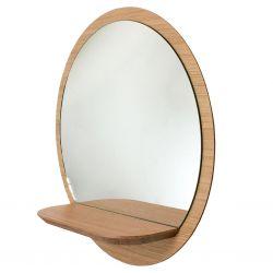 Miroir rond cadre bois Reine Mère