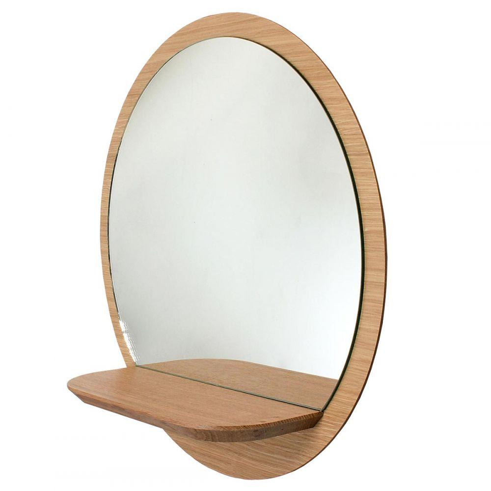 Round Wood Mirror With Shelf Sunrise By Reine Mere