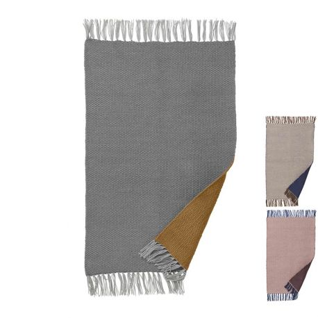 Petit tapis rectangulaire gris et curry