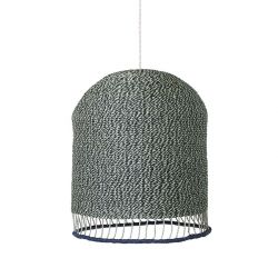 Green and white braided hanging lamp