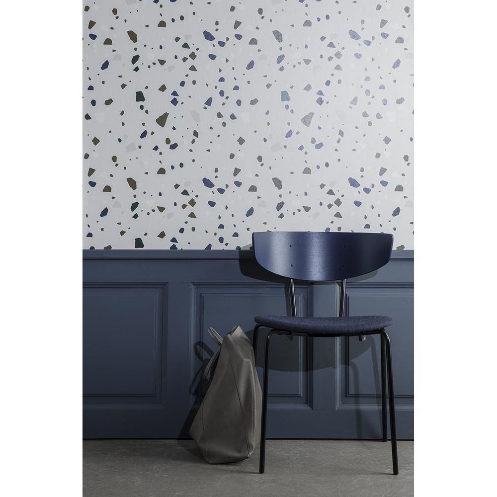Non Woven Gray Wallpaper Terrazzo Printed Par Ferm Living