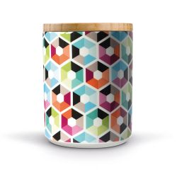 Hexagon porcelain canister Remember
