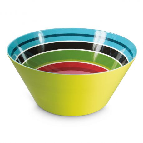 Large salad bowl green Stripy