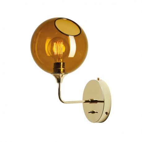 Amber and gold glass wall lamp