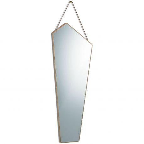 large asymmetrical mirror in oak
