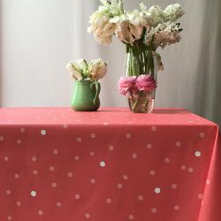 Coral confetti coated tablecloth