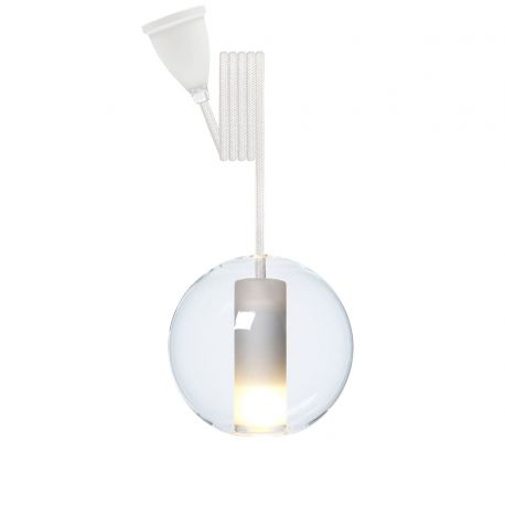 Suspension boule verre transparent d 12,5 cm