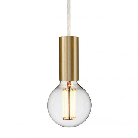 brass socket pendant with white cord
