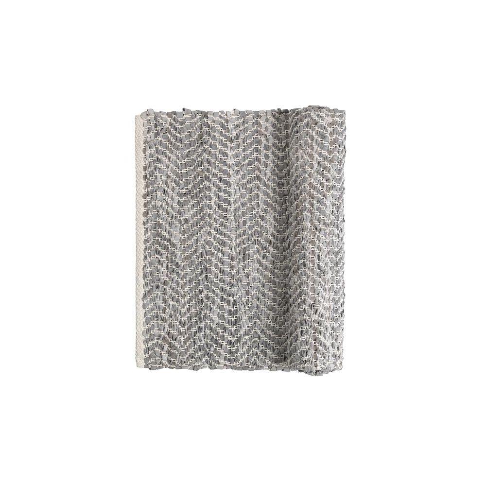 broste copenhagen tapis en cuir gris et blanc zigzag. Black Bedroom Furniture Sets. Home Design Ideas