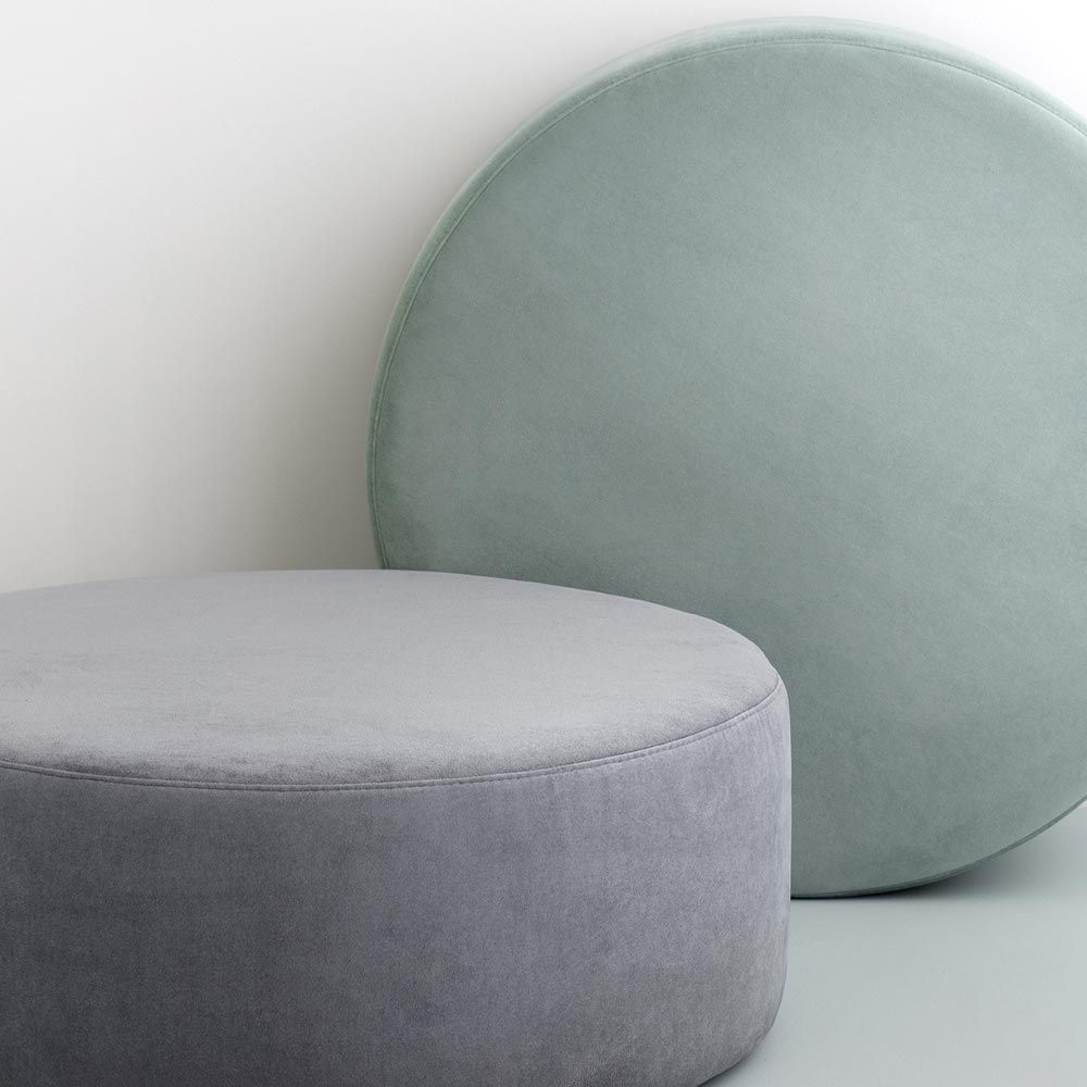 Large Round Pouf In Velvet Broste Copenhagen Wind Collection