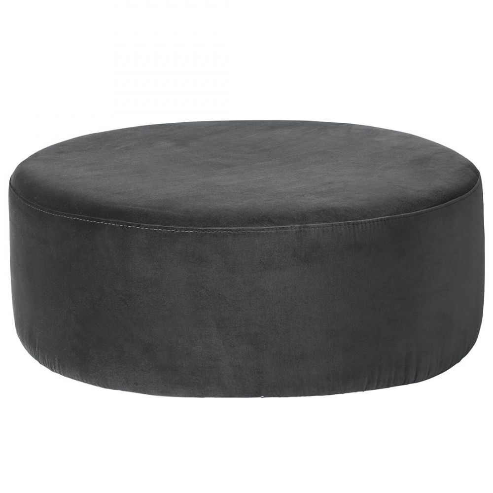 Dark Grey Large Round Pouf