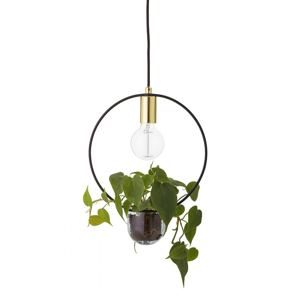 Bloomingville Black And Gold Pendant Lamp With Flowerpot