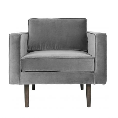 Light grey velvet armchair