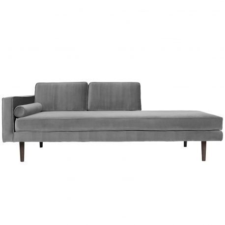 Light grey velvet chaise lounge