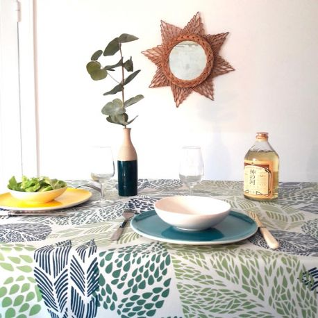 coated tablecloth green leaves
